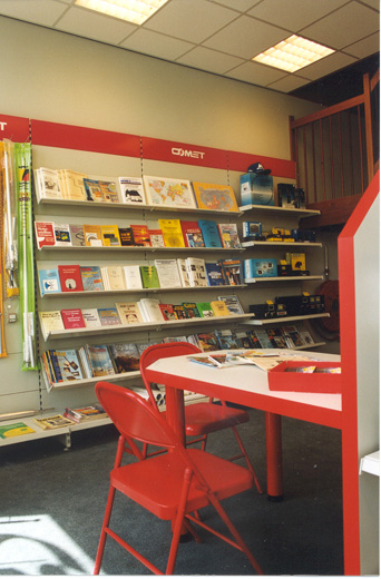 Literature corner with international technical specialist books and magazines